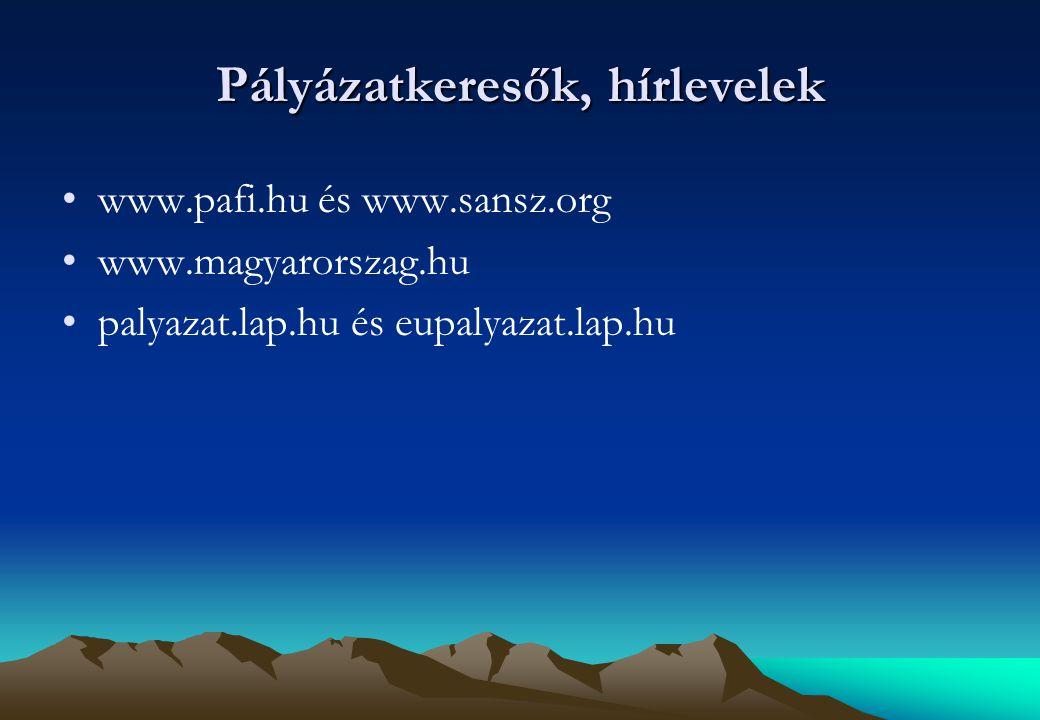 Pályázatkeresők, hírlevelek www.pafi.hu és www.sansz.org www.magyarorszag.hu palyazat.lap.hu és eupalyazat.lap.hu