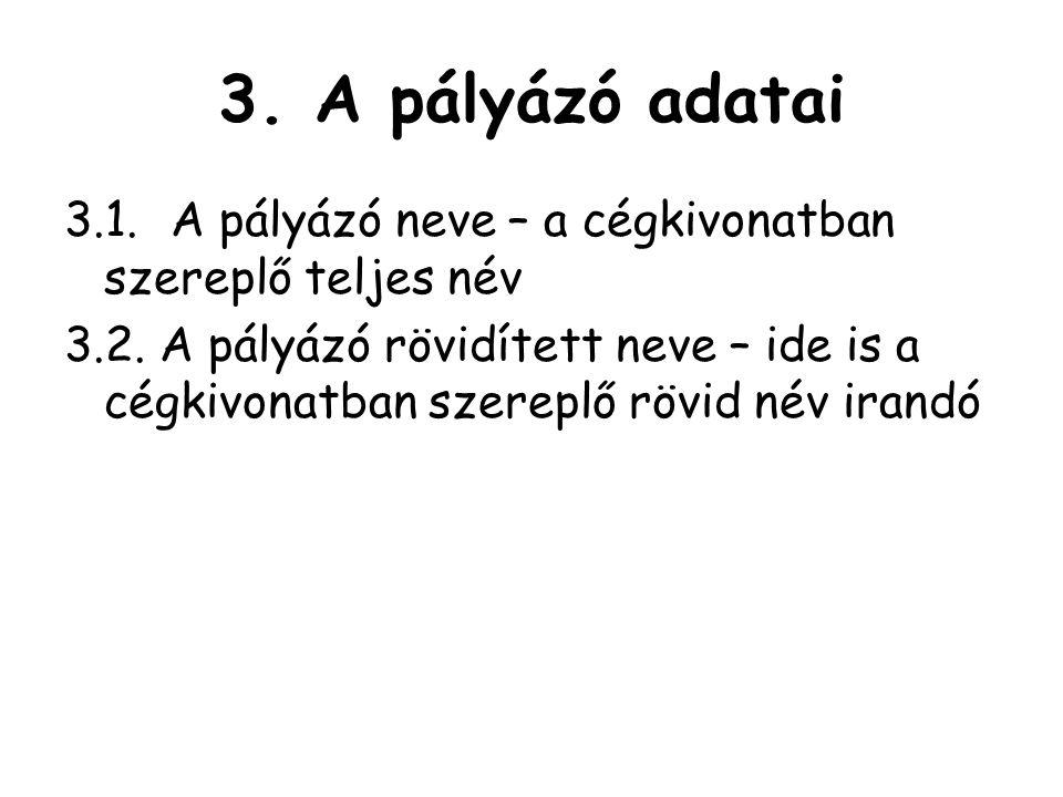 3.A pályázó adatai 3.1.A pályázó neve – a cégkivonatban szereplő teljes név 3.2.