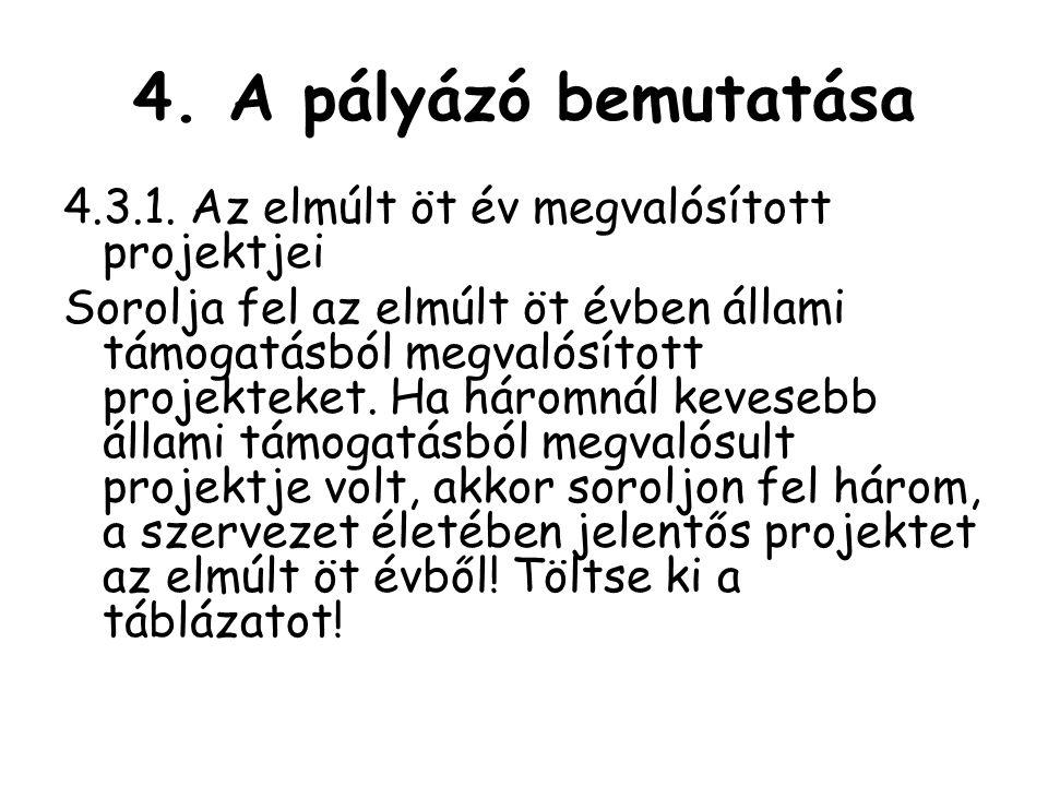 4.A pályázó bemutatása 4.3.1.