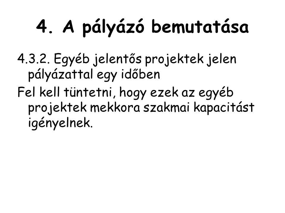 4.A pályázó bemutatása 4.3.2.