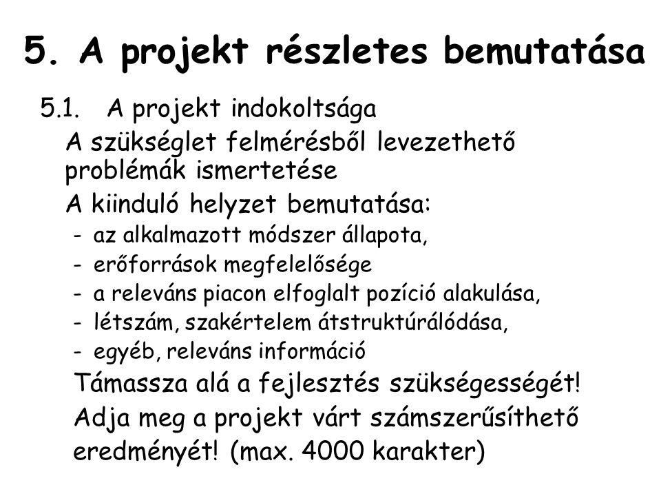 5. A projekt részletes bemutatása 5.1.A projekt indokoltsága A szükséglet felmérésből levezethető problémák ismertetése A kiinduló helyzet bemutatása: