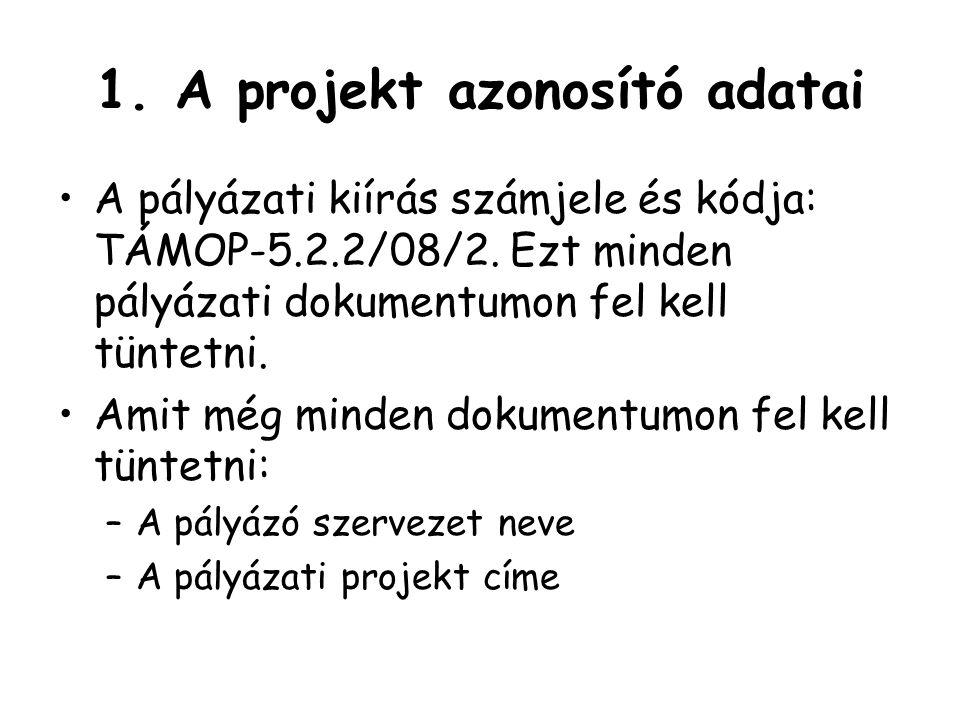1.A projekt azonosító adatai A pályázati kiírás számjele és kódja: TÁMOP-5.2.2/08/2.