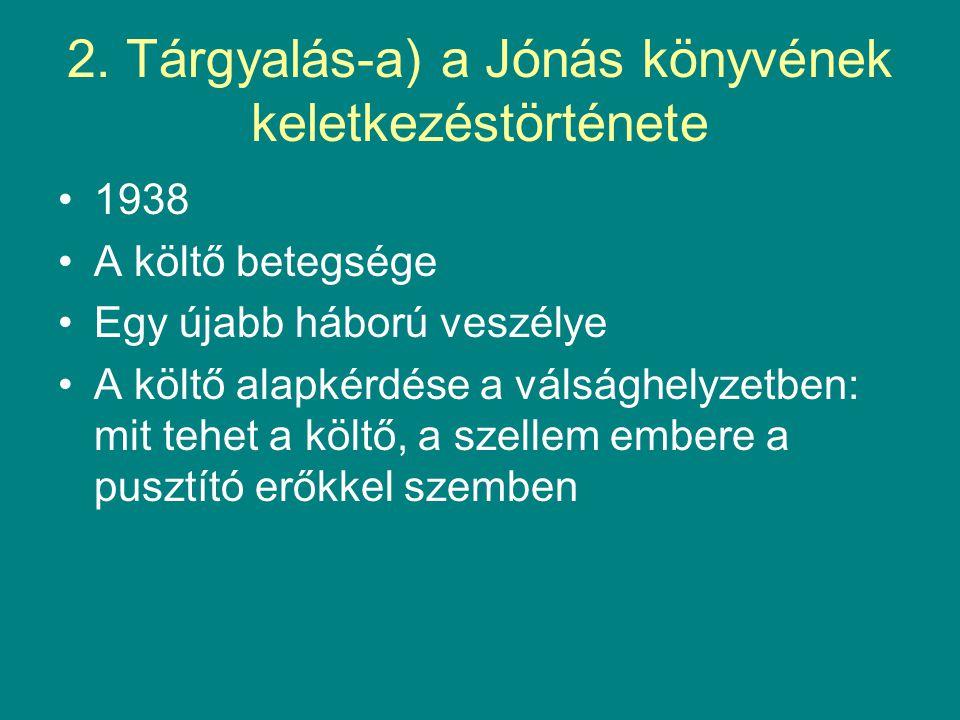 2. Tárgyalás-a) a Jónás könyvének keletkezéstörténete 1938 A költő betegsége Egy újabb háború veszélye A költő alapkérdése a válsághelyzetben: mit teh