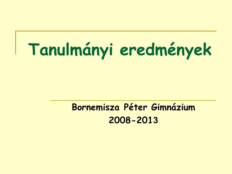 Tanulmányi eredmények Bornemisza Péter Gimnázium 2008-201 3