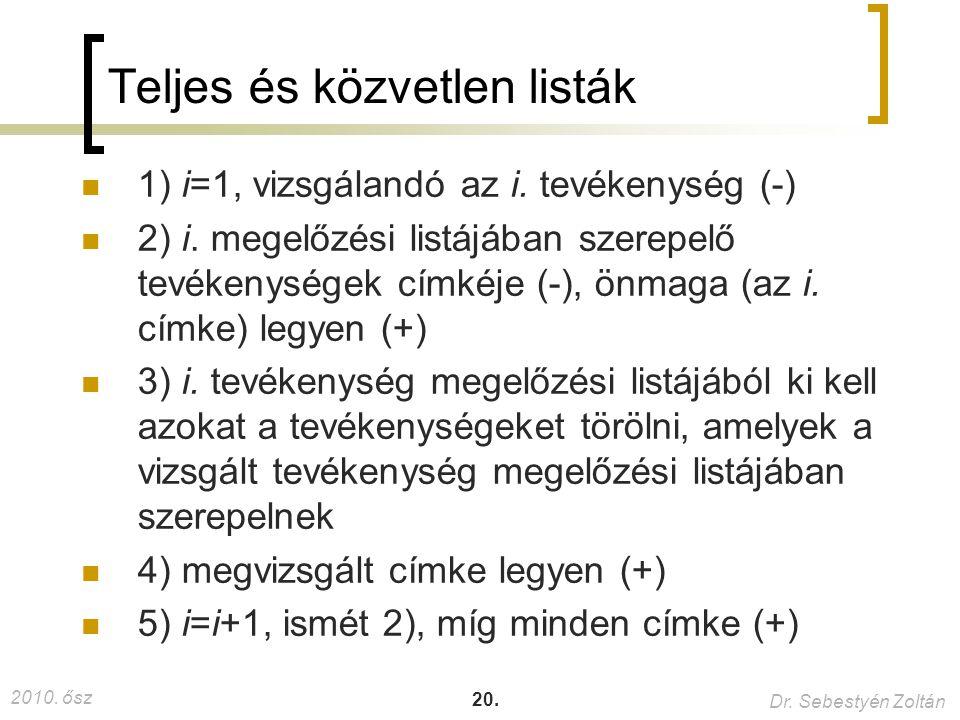 2010.ősz Dr. Sebestyén Zoltán 20. Teljes és közvetlen listák 1) i=1, vizsgálandó az i.