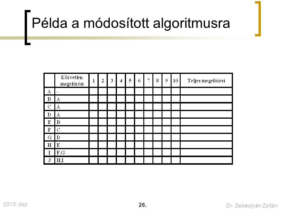 2010. ősz Dr. Sebestyén Zoltán 26. Példa a módosított algoritmusra