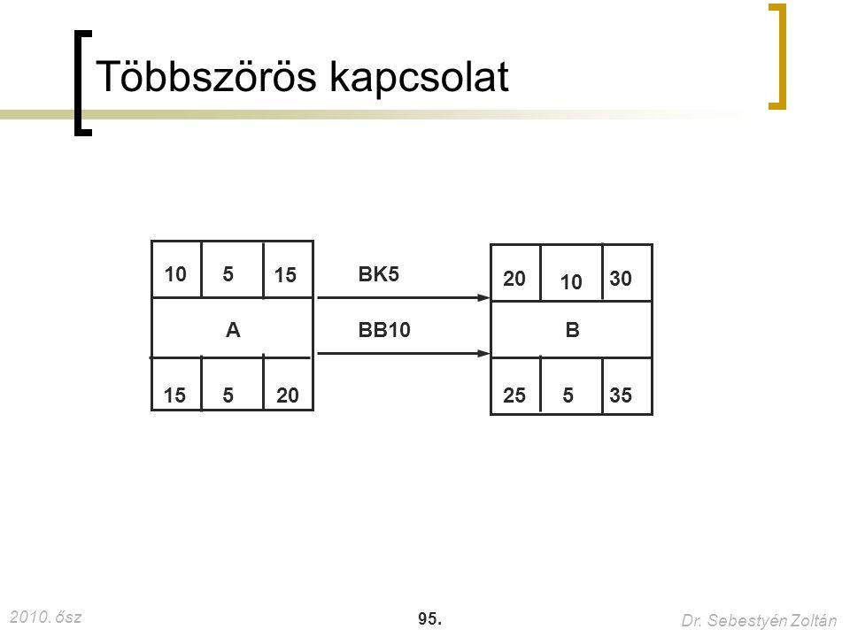 2010. ősz Dr. Sebestyén Zoltán 95. Többszörös kapcsolat 15 205 30 525 35 10 5 A BBB10 BK5