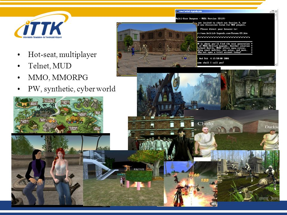 Fogalmak Hot-seat, multiplayer Telnet, MUD MMO, MMORPG PW, synthetic, cyber world