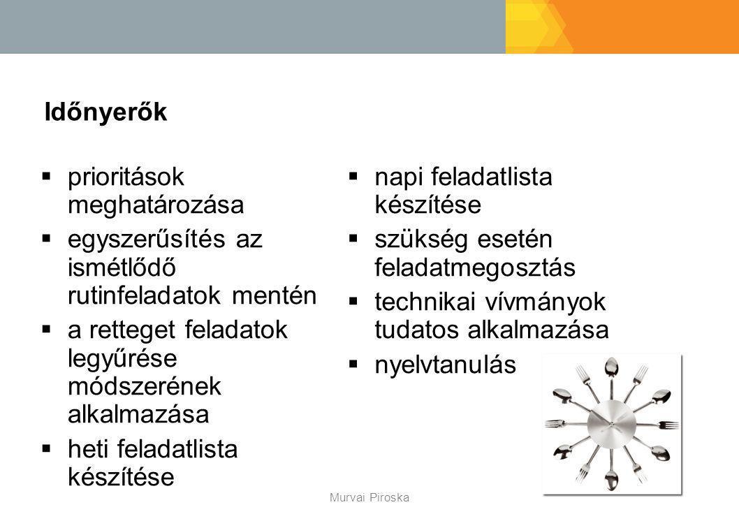 Időnyerők Murvai Piroska  prioritások meghatározása  egyszerűsítés az ismétlődő rutinfeladatok mentén  a retteget feladatok legyűrése módszerének a