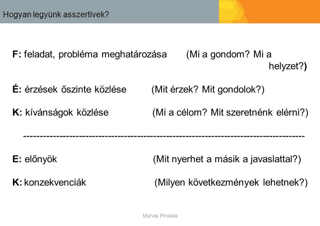 Hogyan legyünk asszertívek? F: feladat, probléma meghatározása(Mi a gondom? Mi a helyzet?) É: érzések őszinte közlése (Mit érzek? Mit gondolok?) K: kí