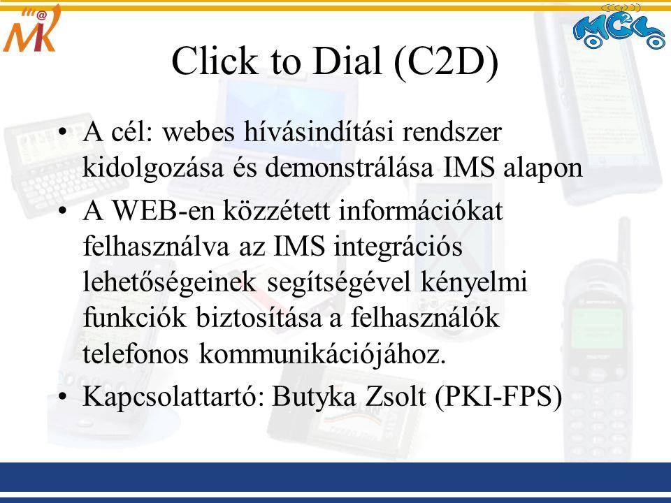 Click to Dial (C2D) A cél: webes hívásindítási rendszer kidolgozása és demonstrálása IMS alapon A WEB ‑ en közzétett információkat felhasználva az IMS integrációs lehetőségeinek segítségével kényelmi funkciók biztosítása a felhasználók telefonos kommunikációjához.