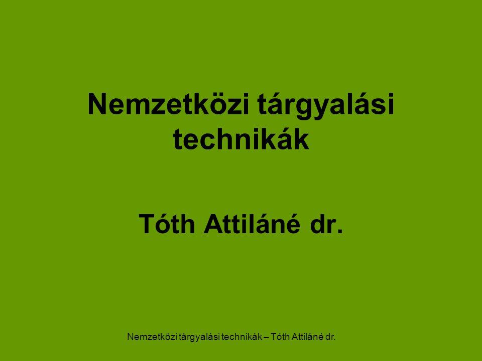 Nemzetközi tárgyalási technikák – Tóth Attiláné dr. Nemzetközi tárgyalási technikák Tóth Attiláné dr.