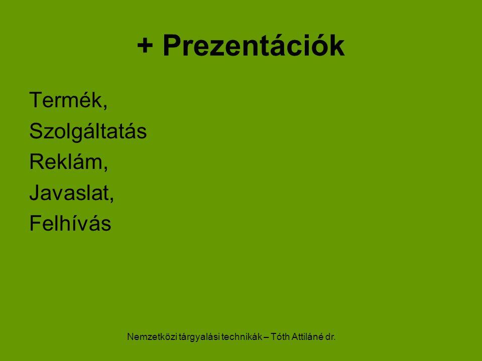 Nemzetközi tárgyalási technikák – Tóth Attiláné dr. + Prezentációk Termék, Szolgáltatás Reklám, Javaslat, Felhívás