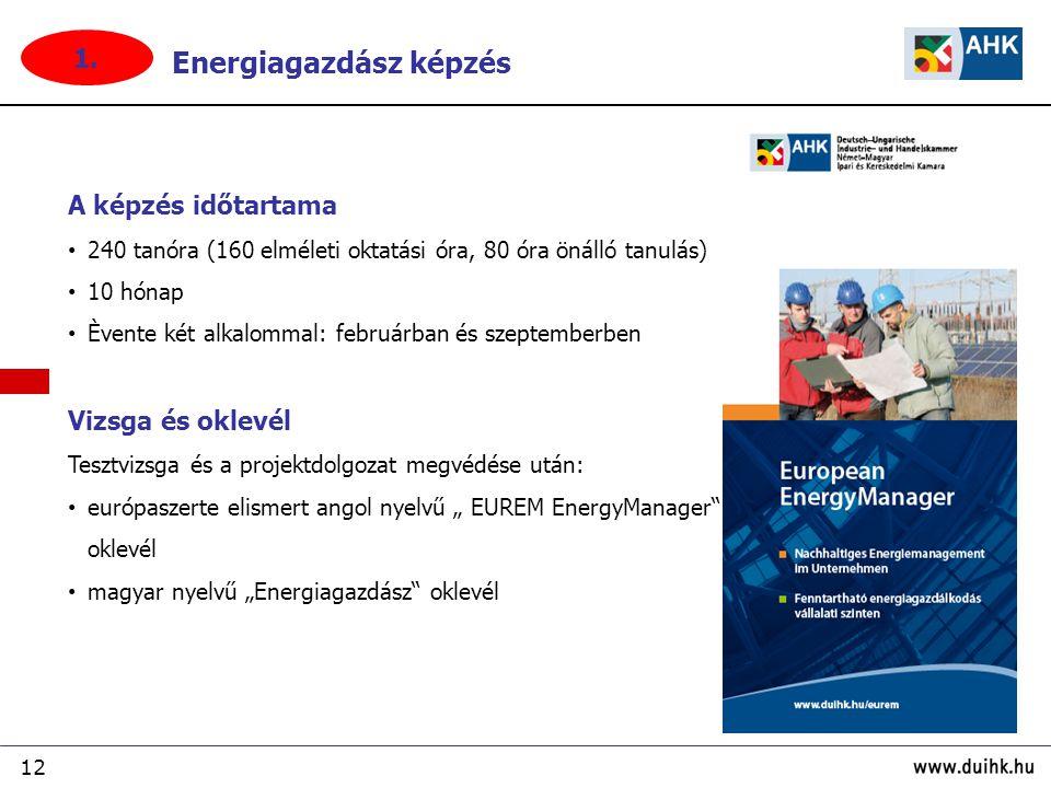 """12 A képzés időtartama 240 tanóra (160 elméleti oktatási óra, 80 óra önálló tanulás) 10 hónap Èvente két alkalommal: februárban és szeptemberben Vizsga és oklevél Tesztvizsga és a projektdolgozat megvédése után: európaszerte elismert angol nyelvű """" EUREM EnergyManager oklevél magyar nyelvű """"Energiagazdász oklevél Energiagazdász képzés 1."""