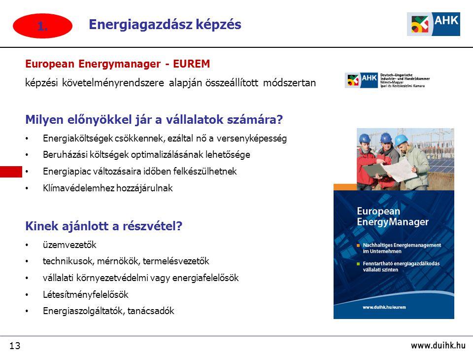 13 European Energymanager - EUREM képzési követelményrendszere alapján összeállított módszertan Milyen előnyökkel jár a vállalatok számára.