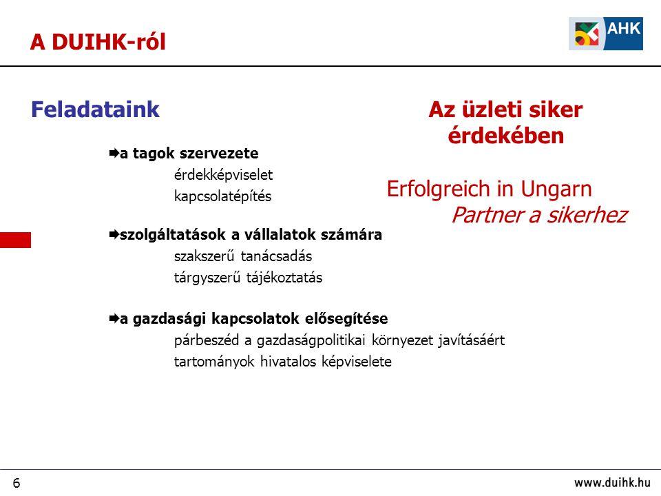 6 A DUIHK-ról Feladataink  a tagok szervezete érdekképviselet kapcsolatépítés  szolgáltatások a vállalatok számára szakszerű tanácsadás tárgyszerű tájékoztatás  a gazdasági kapcsolatok elősegítése párbeszéd a gazdaságpolitikai környezet javításáért tartományok hivatalos képviselete Az üzleti siker érdekében Erfolgreich in Ungarn Partner a sikerhez
