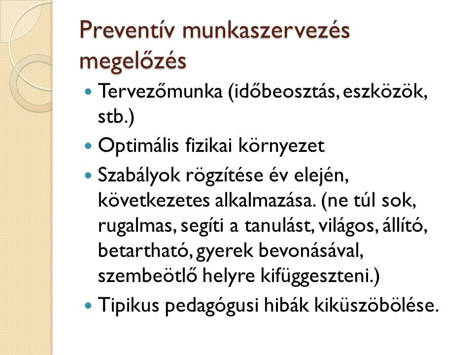 Preventív munkaszervezés megelőzés Tervezőmunka (időbeosztás, eszközök, stb.) Optimális fizikai környezet Szabályok rögzítése év elején, következetes