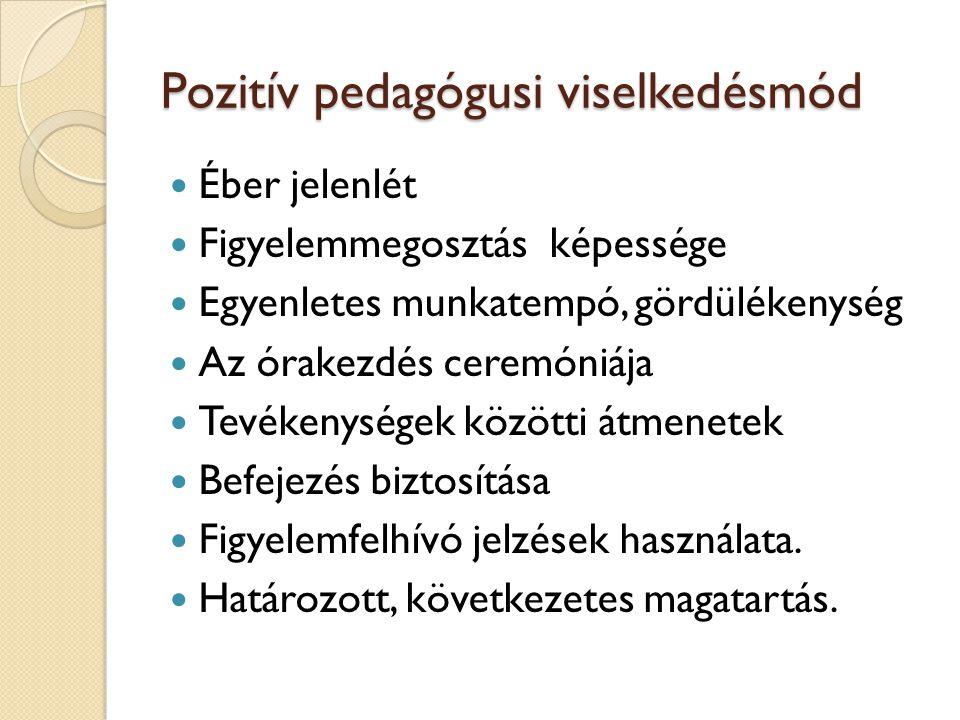 Pozitív pedagógusi viselkedésmód Éber jelenlét Figyelemmegosztás képessége Egyenletes munkatempó, gördülékenység Az órakezdés ceremóniája Tevékenysége