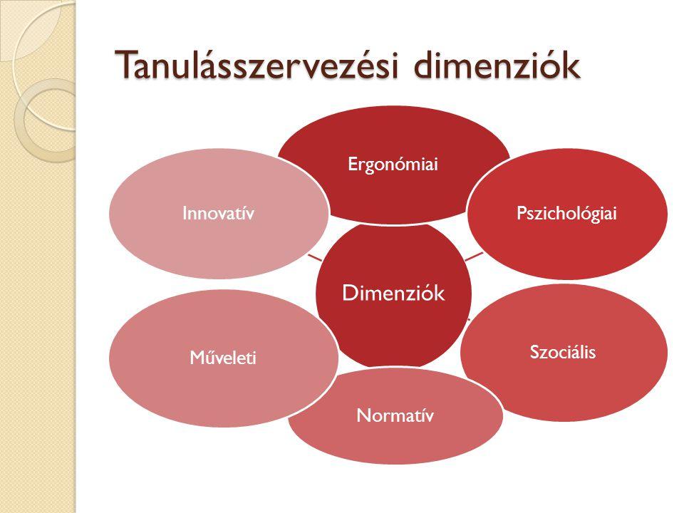 Tanulásszervezési dimenziók Dimenziók Ergonómiai Pszichológiai Szociális Normatív Műveleti Innovatív