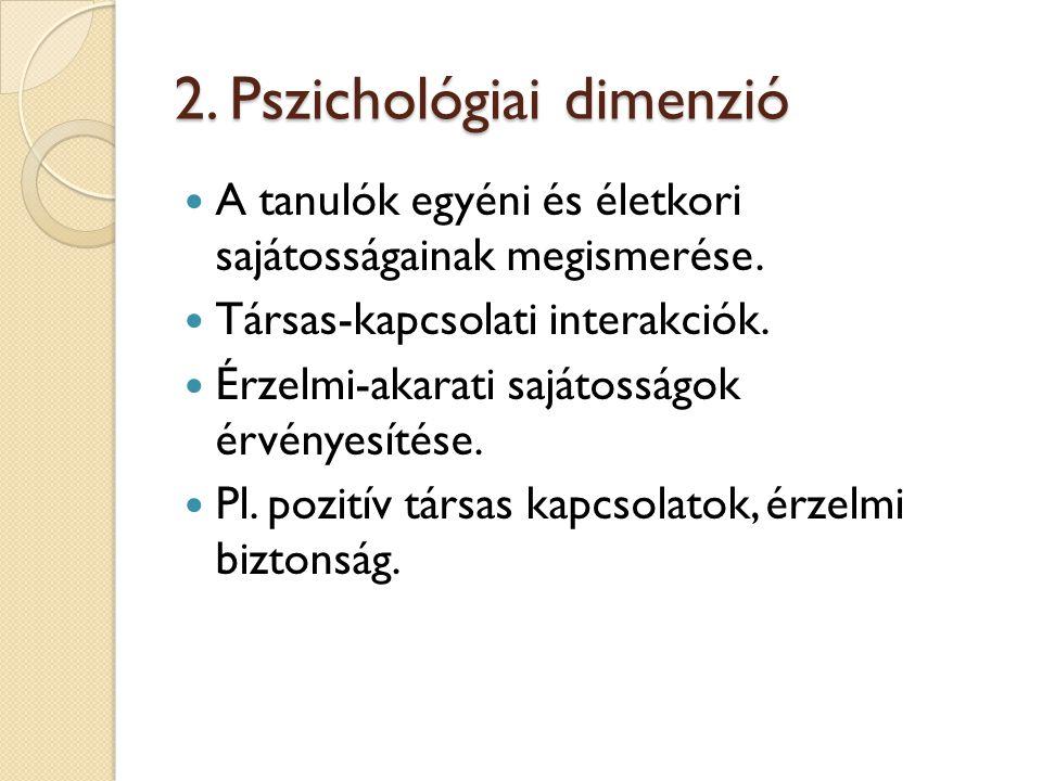 2. Pszichológiai dimenzió A tanulók egyéni és életkori sajátosságainak megismerése. Társas-kapcsolati interakciók. Érzelmi-akarati sajátosságok érvény