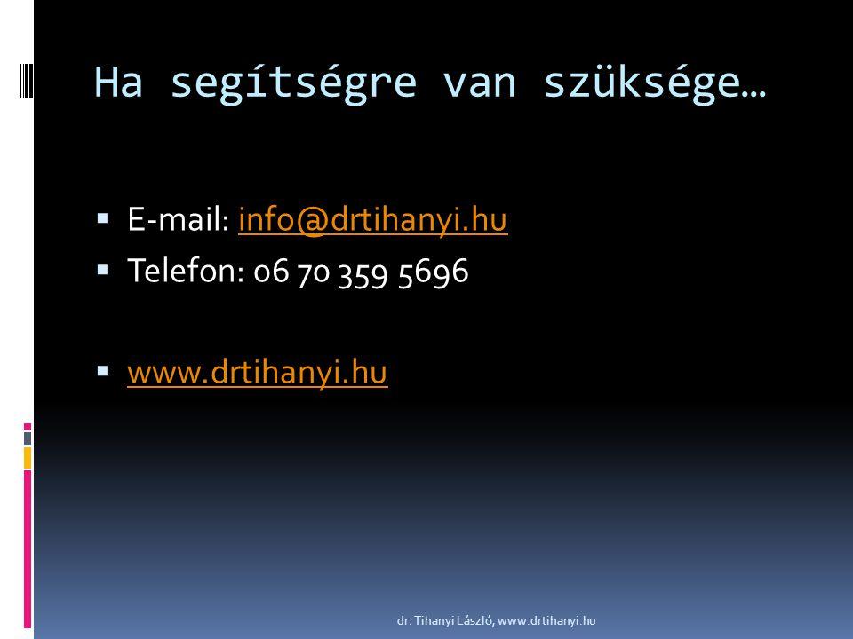 Ha segítségre van szüksége…  E-mail: info@drtihanyi.huinfo@drtihanyi.hu  Telefon: 06 70 359 5696  www.drtihanyi.hu www.drtihanyi.hu dr. Tihanyi Lás