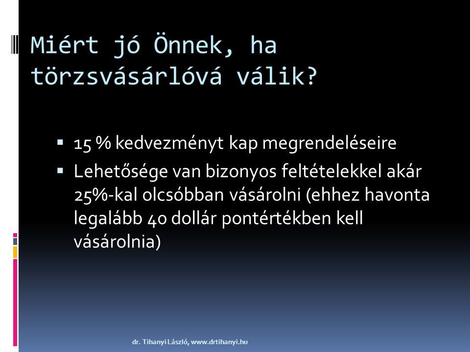 Miért jó Önnek, ha törzsvásárlóvá válik?  15 % kedvezményt kap megrendeléseire  Lehetősége van bizonyos feltételekkel akár 25%-kal olcsóbban vásárol