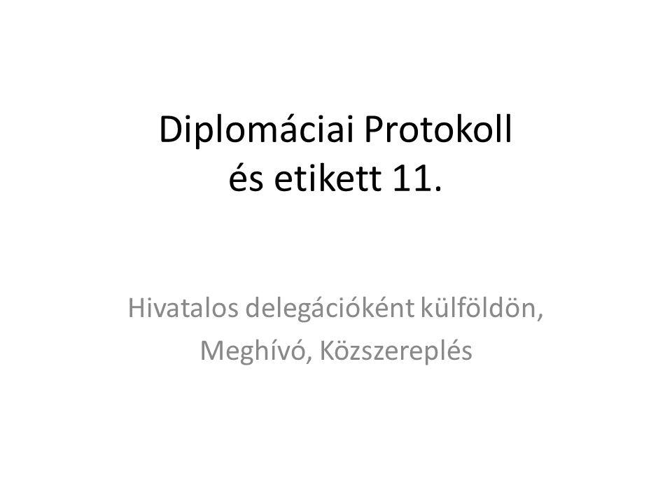 Diplomáciai Protokoll és etikett 11. Hivatalos delegációként külföldön, Meghívó, Közszereplés