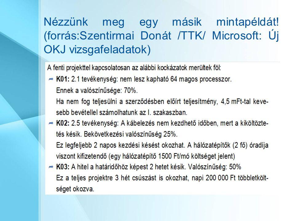 Nézzünk meg egy másik mintapéldát! (forrás:Szentirmai Donát /TTK/ Microsoft: Új OKJ vizsgafeladatok)