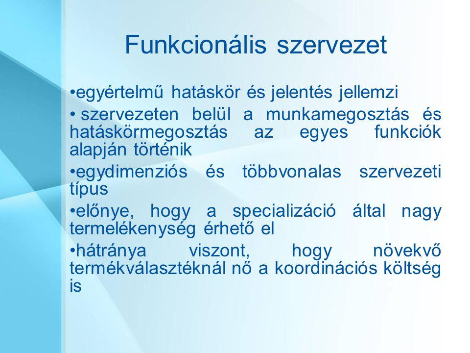 Funkcionális szervezet egyértelmű hatáskör és jelentés jellemzi szervezeten belül a munkamegosztás és hatáskörmegosztás az egyes funkciók alapján tört