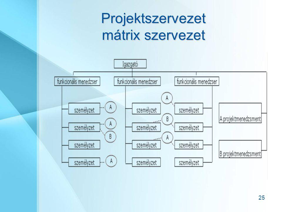 25 Projektszervezet mátrix szervezet