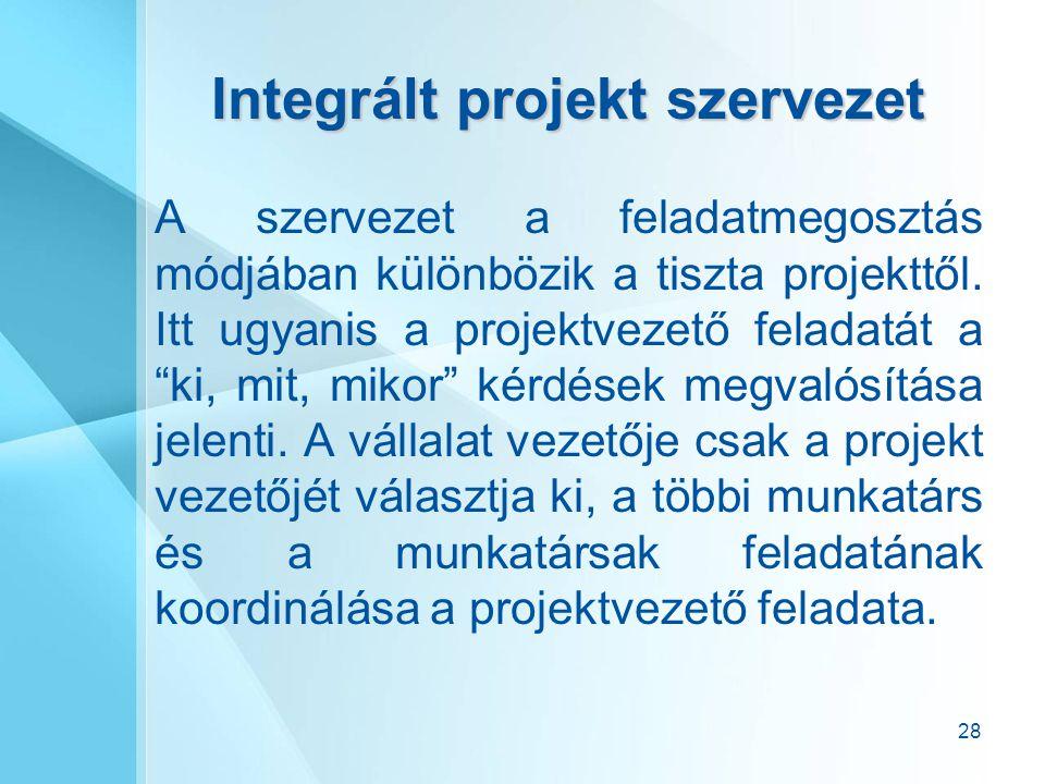 """28 Integrált projekt szervezet A szervezet a feladatmegosztás módjában különbözik a tiszta projekttől. Itt ugyanis a projektvezető feladatát a """"ki, mi"""