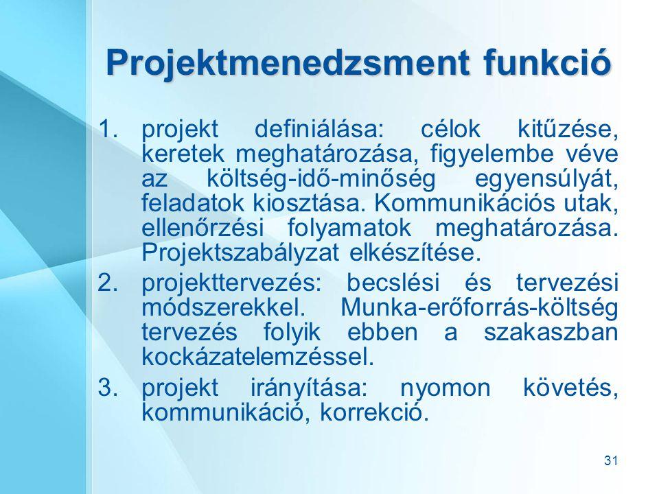 31 Projektmenedzsment funkció 1.projekt definiálása: célok kitűzése, keretek meghatározása, figyelembe véve az költség-idő-minőség egyensúlyát, felada
