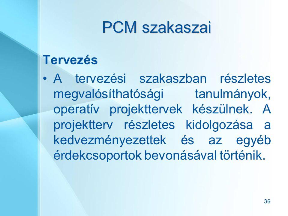 36 PCM szakaszai Tervezés A tervezési szakaszban részletes megvalósíthatósági tanulmányok, operatív projekttervek készülnek. A projektterv részletes k