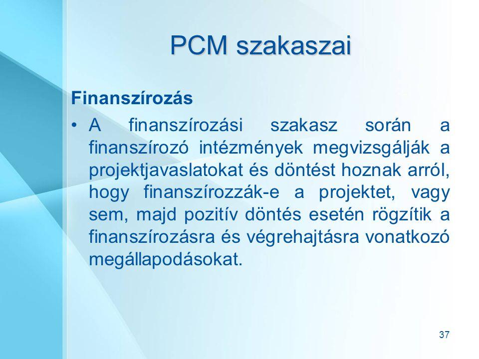 37 PCM szakaszai Finanszírozás A finanszírozási szakasz során a finanszírozó intézmények megvizsgálják a projektjavaslatokat és döntést hoznak arról,