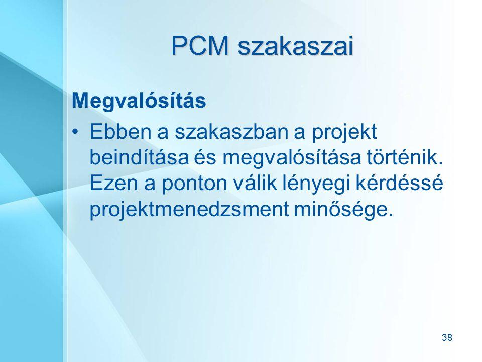 38 PCM szakaszai Megvalósítás Ebben a szakaszban a projekt beindítása és megvalósítása történik. Ezen a ponton válik lényegi kérdéssé projektmenedzsme
