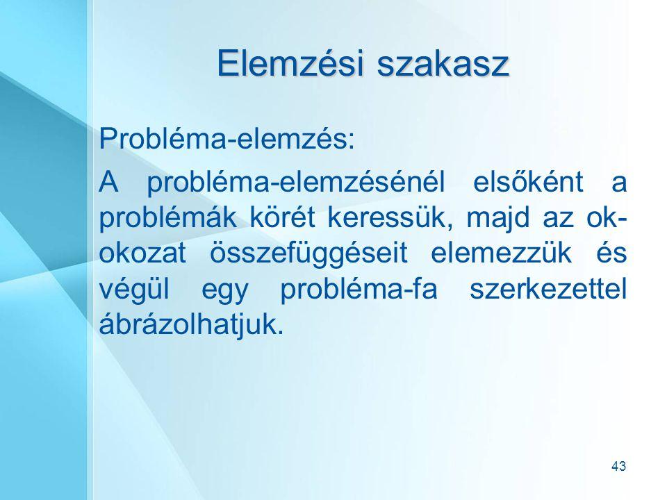 43 Elemzési szakasz Probléma-elemzés: A probléma-elemzésénél elsőként a problémák körét keressük, majd az ok- okozat összefüggéseit elemezzük és végül