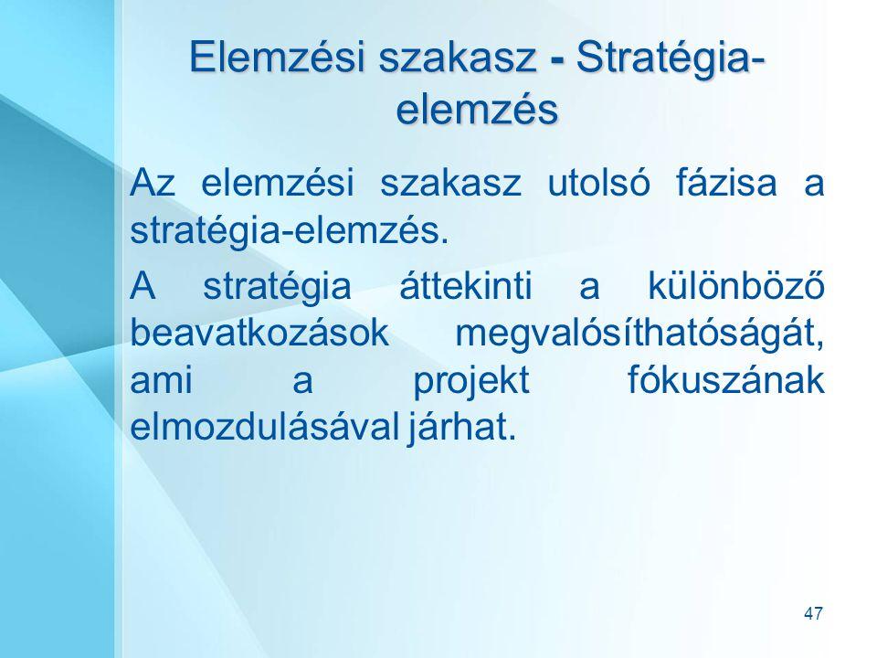 47 Elemzési szakasz - Stratégia- elemzés Az elemzési szakasz utolsó fázisa a stratégia-elemzés. A stratégia áttekinti a különböző beavatkozások megval
