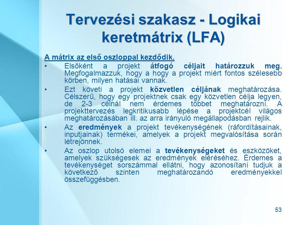 53 Tervezési szakasz - Logikai keretmátrix (LFA) A mátrix az első oszloppal kezdődik. Elsőként a projekt átfogó céljait határozzuk meg. Megfogalmazzuk
