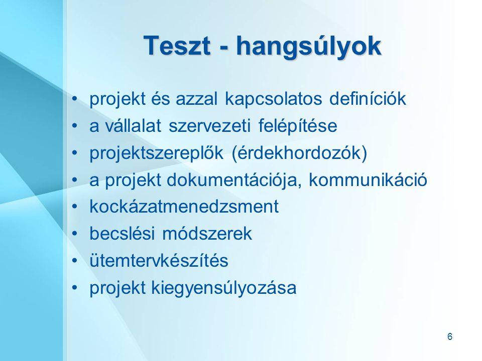 6 Teszt - hangsúlyok projekt és azzal kapcsolatos definíciók a vállalat szervezeti felépítése projektszereplők (érdekhordozók) a projekt dokumentációj