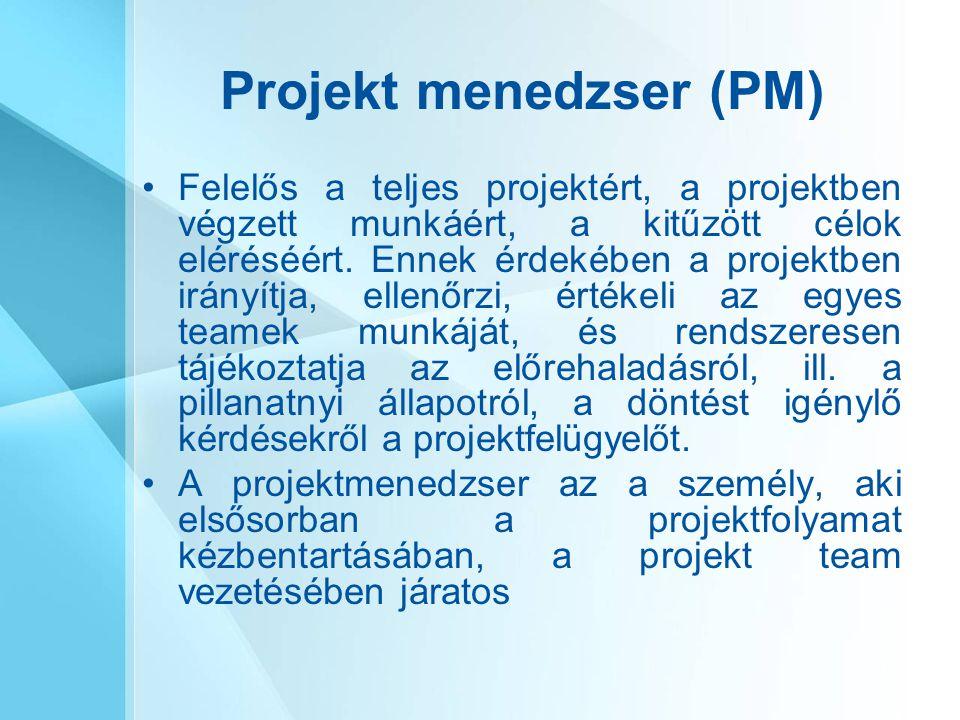 Projekt menedzser (PM) Felelős a teljes projektért, a projektben végzett munkáért, a kitűzött célok eléréséért. Ennek érdekében a projektben irányítja