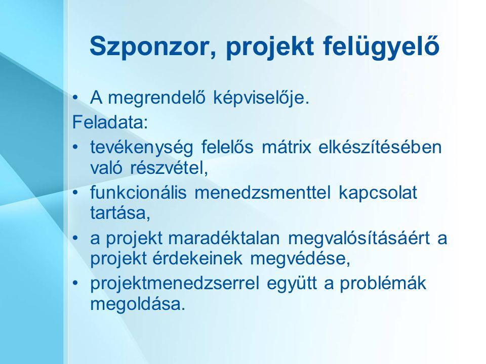 Szponzor, projekt felügyelő A megrendelő képviselője. Feladata: tevékenység felelős mátrix elkészítésében való részvétel, funkcionális menedzsmenttel