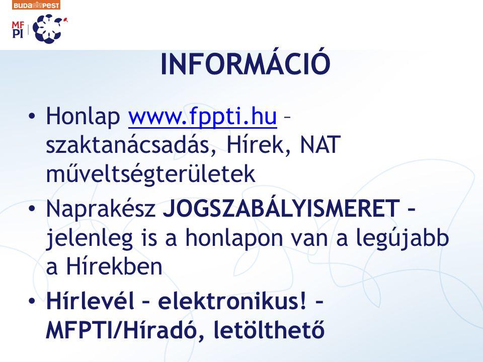 INFORMÁCIÓ Honlap www.fppti.hu – szaktanácsadás, Hírek, NAT műveltségterületekwww.fppti.hu Naprakész JOGSZABÁLYISMERET – jelenleg is a honlapon van a