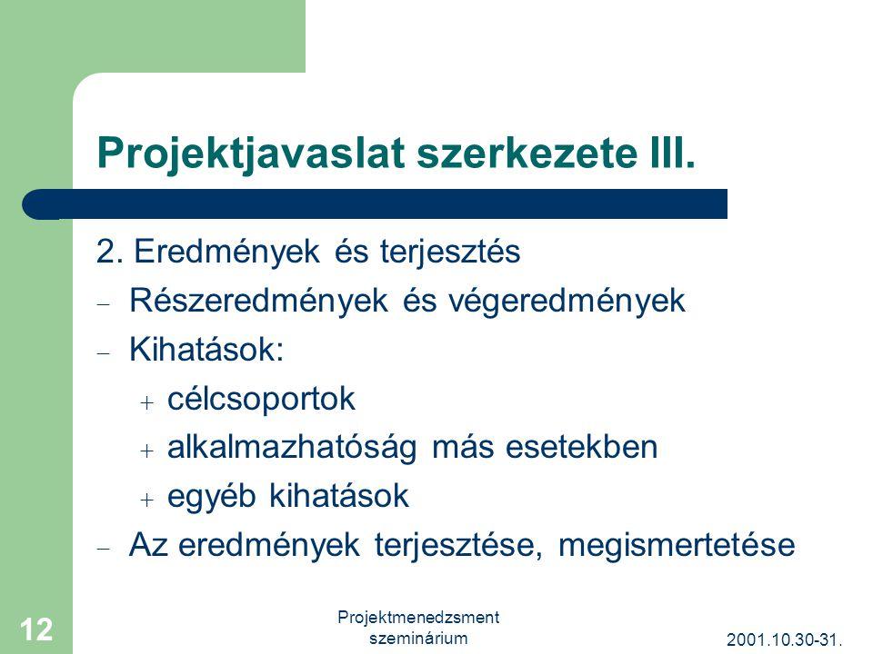 2001.10.30-31. Projektmenedzsment szeminárium 12 Projektjavaslat szerkezete III.