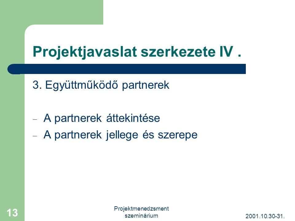 2001.10.30-31. Projektmenedzsment szeminárium 13 Projektjavaslat szerkezete IV.