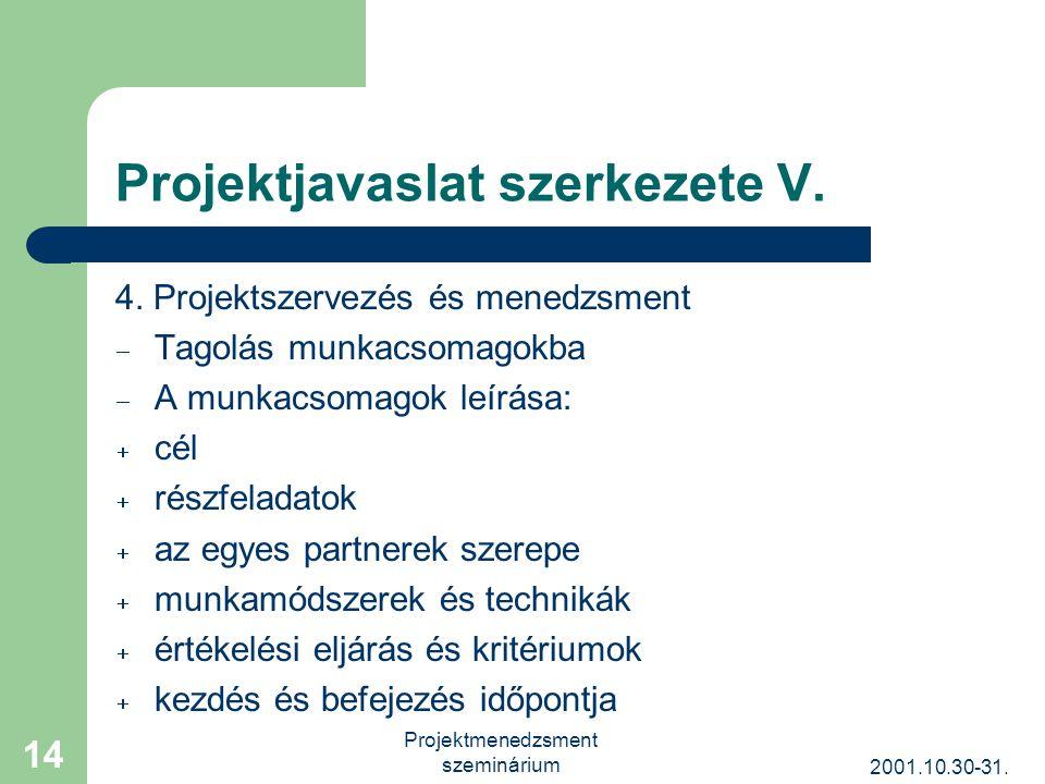 2001.10.30-31. Projektmenedzsment szeminárium 14 Projektjavaslat szerkezete V.