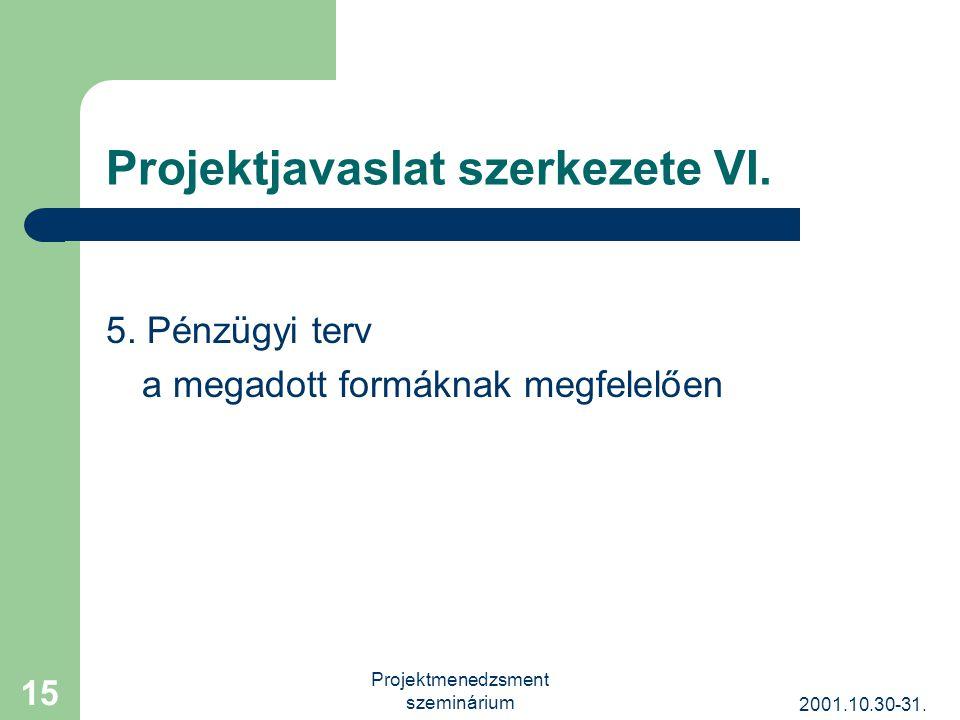 2001.10.30-31. Projektmenedzsment szeminárium 15 Projektjavaslat szerkezete VI.