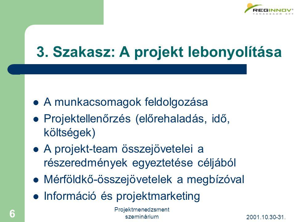 2001.10.30-31. Projektmenedzsment szeminárium 6 3.