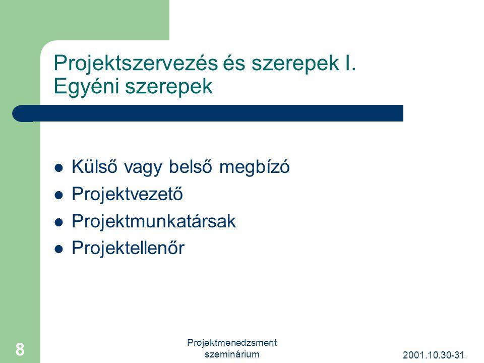 2001.10.30-31. Projektmenedzsment szeminárium 8 Projektszervezés és szerepek I.