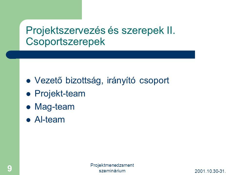 2001.10.30-31. Projektmenedzsment szeminárium 9 Projektszervezés és szerepek II.