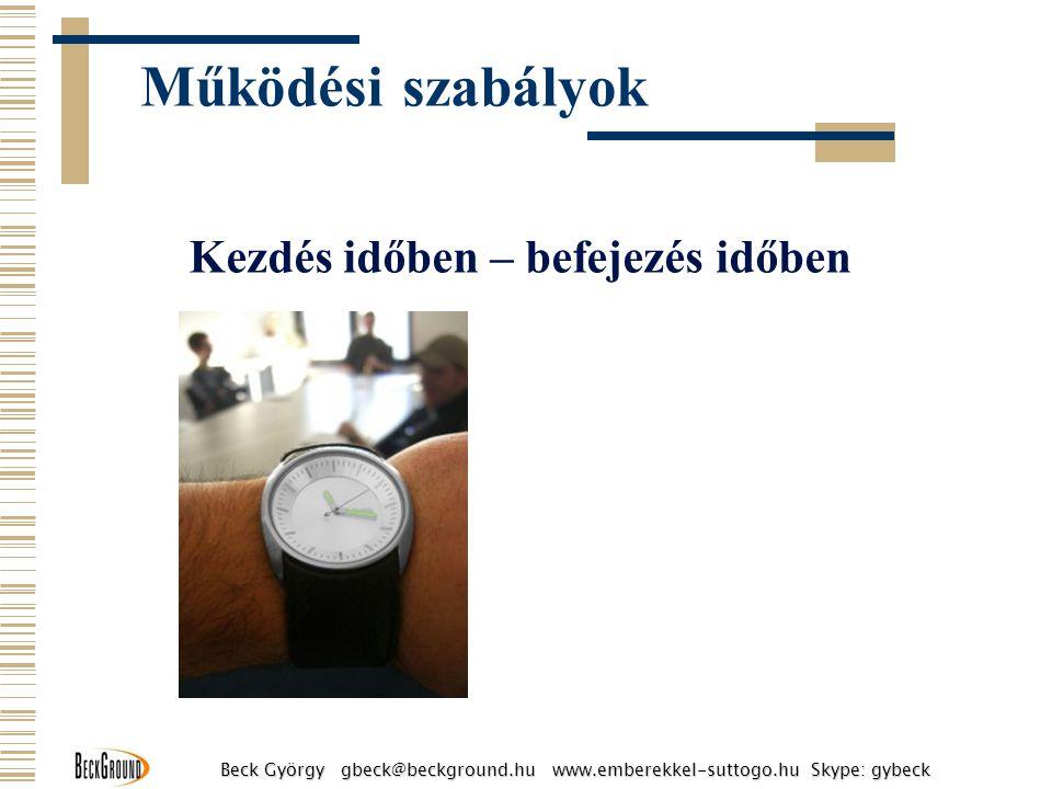 Kezdés időben – befejezés időben Működési szabályok Beck György gbeck@beckground.hu www.emberekkel-suttogo.hu Skype: gybeck